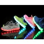 Светящиеся тканевые кроссовки с LED подсветкой детские 560