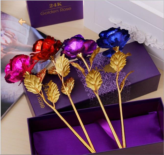 Подарок цветок из сусального золота в коробке